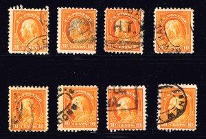 US STAMP #433 10c orange yellow p.10 1914  USED STAMP LOT