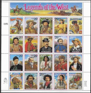 USA # 2869  Legends of the West  full sheet of 20    (1) Mint NH