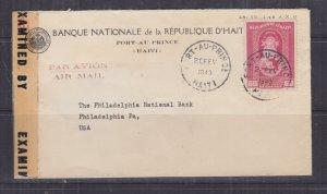 HAITI, 1943 censored airmail cover to Port Au Prince to USA, 60c.