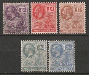 Montserrat 1916 Sc 56-7,60-2 partial set MH*/used