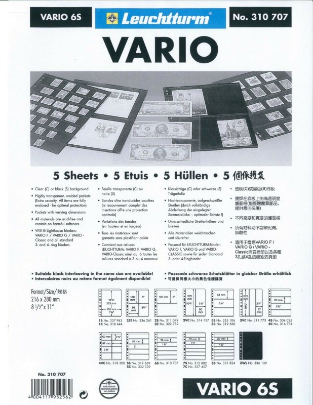 Lighthouse VARIO Stock Sheet Double Sided 6 Pocket Protector Pages Size: 6S