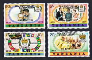 Tanzania 25th Anniversary of Coronation Overprint Type A 4v SG#233-236A