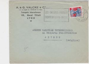 France 1960 Airmail Lyon Cancel Postal Slogan Stamp Cover to Anvers Ref 32033