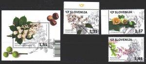 Slovenia. 2020. 1412-14, bl 123. Flowers, flora. MNH.