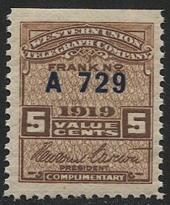 US 1919 Sc 16T55  MNH Western Union Telegraph Co., Serial #A729, VF