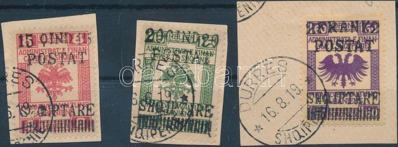 Albania stamp Postage due set 3 values on piece Piece 1919 WS199691