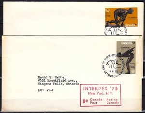 Canada, Scott cat. 656-657 issue. Montreal Olympics. Mailed First day covers. ^