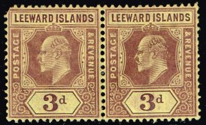 UK STAMP Leeward Islands 1907 -1911 King Eduard VII MNH/OG PAIR
