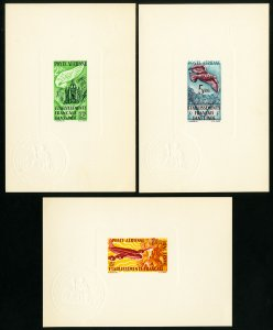 French India Stamps Early Lot of 3 Sunken Die Proofs