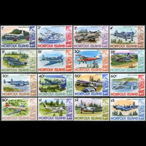 NORFOLK IS. 1980 - Scott# 256-70 Planes Set of 16 LH