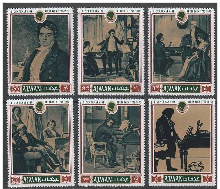 Ajman MNH Set Of 6 Beethoven Composer 1971