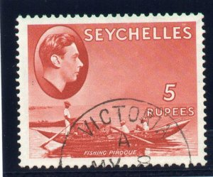 Seychelles 1938 KGVI 5r red (CH) very fine used. SG 149. Sc 148