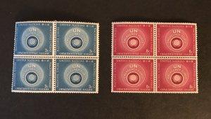 U.N. N.Y  1957 #51-52 Block SCV $1.20