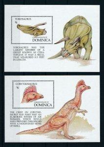 [105813] Dominica 1992 Prehistoric animals dinosaurs 2 Souv. Sheets MNH
