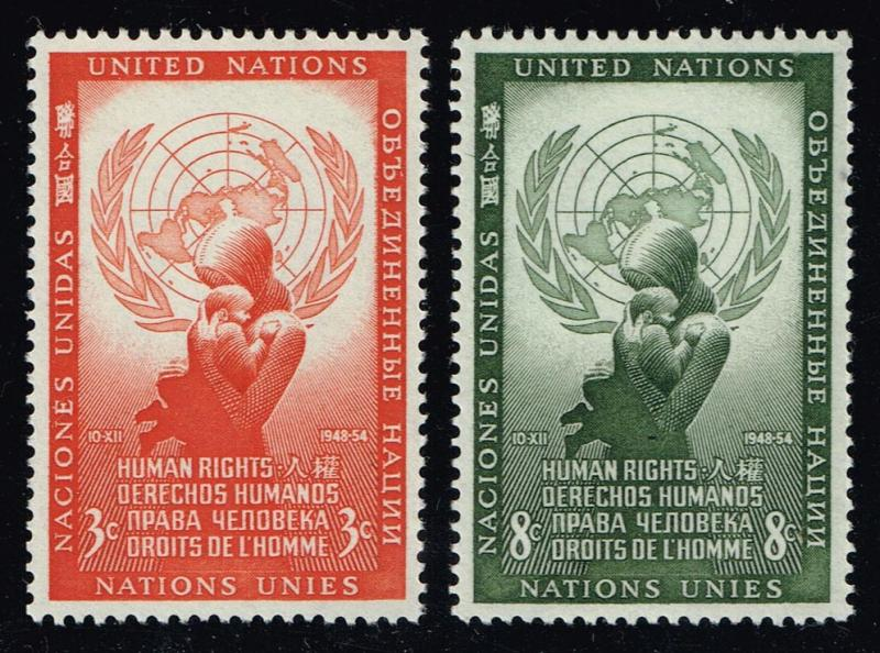 UN New York #29-30 Human Rights Day Set; MNH (10.00)