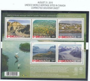 CANADA # 2844 & # 2857 RECALLED AND NORMAL UNESCO WORLD HERITAGE SITES S/SHEETS