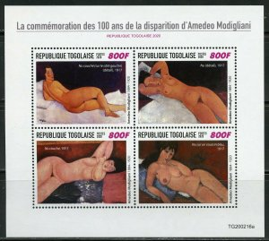 TOGO 2020  100th MEMORIAL ANNIVERSARY OF AMADEO MODIGLIANI SHEET MINT NH