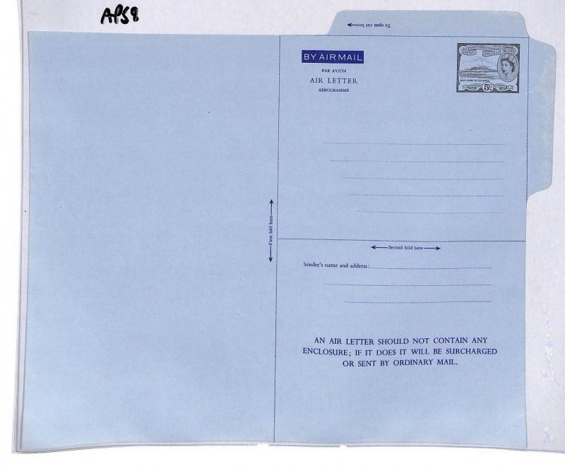 AP58 St Christopher Nevis Angla Airmail Air Letter Postal Stationery Cover PTS