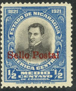NICARAGUA 1923 1/2c General Arce Overprinted Portrait Issue Sc 420 MNH