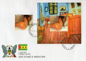 Sao Tome & Principe 2005 Van Gogh NUDES PAINTINGS Set + s/s Perforated in FDC