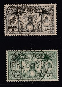 New Hebrides (British) a fine used pair of low values from 1925