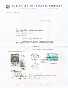 1128 - Arctic FDC, Jones & Lamson commercial mailing with letter  (1103)