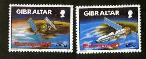 GIBRALTAR 1991 # 585-586 MNH  EUROPA, SATELLITES Set