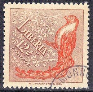 LIBERIA SCOTT# 346  CTO HINGED  12c  1953  WEAVER  SEE SCAN