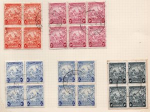 Barbados Sc 195, 195B, 196 Blocks of 4 used