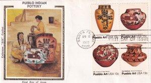 1977, Pueblo Indian Pottery, Block/4, Colorano Silk, FDC (E11856)