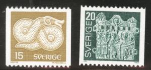 SWEDEN Scott 1173-4 MNH** 1976 coil short st