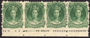 1860-63 Canada Nova Scotia Queen Victoria QV 8½¢ Strip of 4 MNH Sc# 11 CV $80