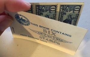 #BKC1 10¢ AIRMAIL UNEXPLODED BOOKLET VF+ OG NH CV $250 BT2142