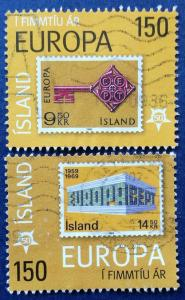Iceland Europa Stamps 50th Anniversary Scott # 1066a & b Used (I909)