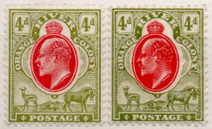 (I.B) Orange River Colony Postal : 4d Scarlet & Sage Green (both printings)