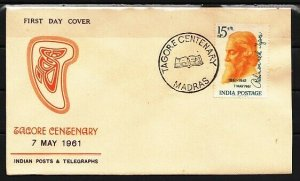 India, Scott cat. 817. Tagore, Poet & Musician. First day cover. *