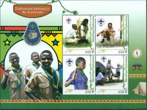 GABON - 2018 - Gabon Scouts - Perf 4v Sheet - M N H