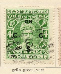 Cochin 1913 Early Issue Fine Used 4p. Optd 322431