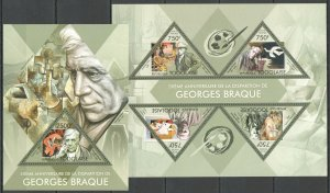 TG694 2013 TOGO ART FAMOUS PAINTINGS GEORGES BRAQUE KB+BL MNH
