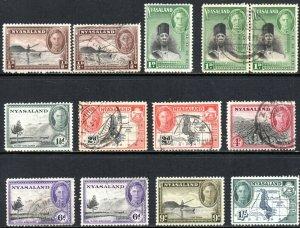 1945 Nyasaland Sg 144/152 Short Set of 8 Mounted Mint/Fine Used