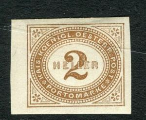 AUSTRIA;  1899 early Postage Due issue Mint hinged Imperf 2h. value,