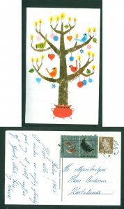 Denmark. Christmas Card 1965. 2 x Seal + 40 Ore. Ringsted. Tree, Candles, Birds.