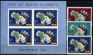 Ghana #107-9, 109a  F-VF Unused CV $5.00 (X9815L)