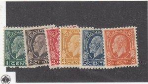 CANADA (MK6705) # 195-200  VF-2MNH/2NG/2H 1-5,8cts  KGV MEDALLION ISSUE CV $175