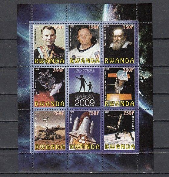 Rwanda, 2009 Cinderella issue. Universe-Space sheet of 8 + Label.