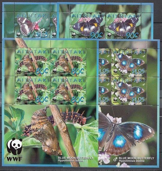 / Aitutaki, Scott cat. 539-542. Butterflies & World Wildlife Fund Sheets.