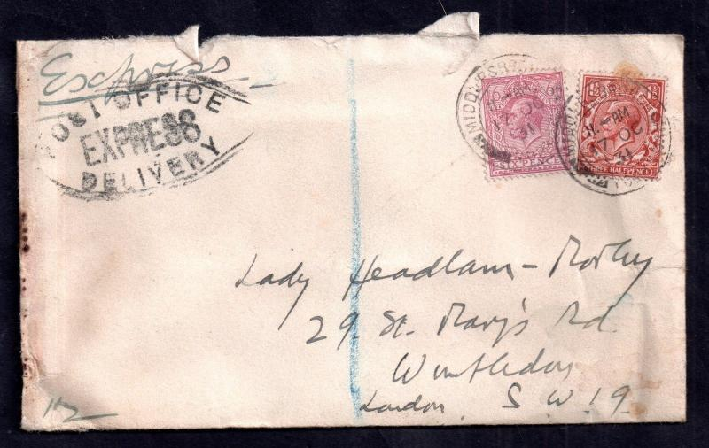 GB KGV 1931 7 1/2d Rate 'Post Office Express Delivery' cover