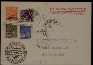 Brazil Zeppelin card 7.5.35, creased corner