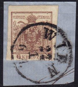 Austria - 1854 - Scott #4b - used on piece - Coat of Arms