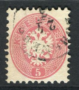 AUSTRIA;    1863 Coat of Arms classic issue Perf 9.5. used 5k. value,